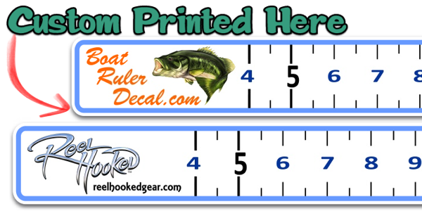 Custom boat ruler vinyl decal fish measure tape fishing decal for Fish measuring tape